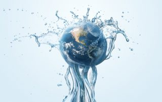 Water on globe graphic
